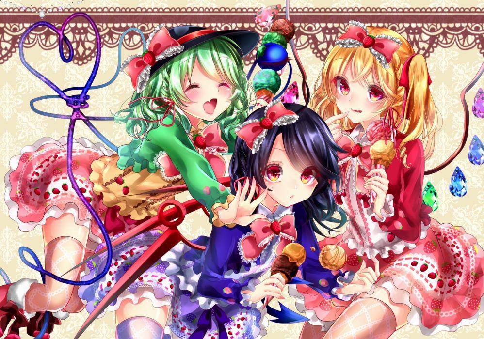 Touhou Houjuu Nue Komeiji Koishi Flandre Scarlet Ice Cream wallpaper