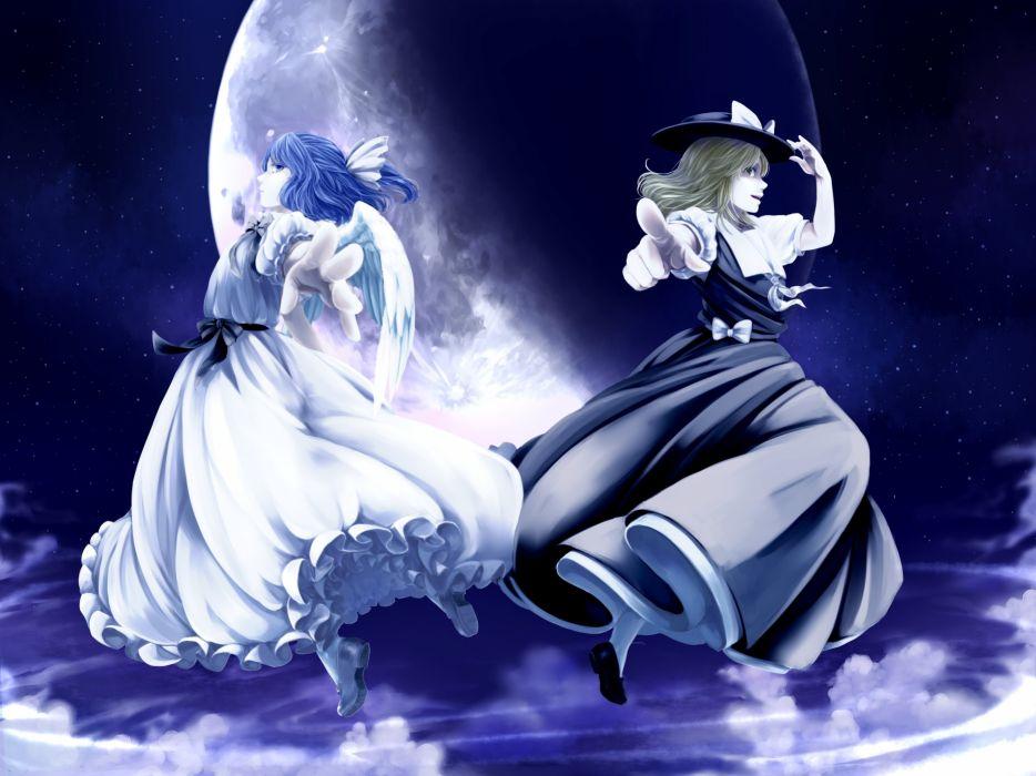Touhou Yuki (Touhou) Mai (Touhou) Unnaturally White Skin Night Sky wallpaper