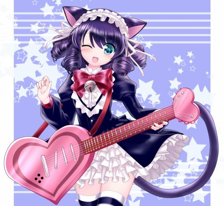 Show by Rock!! Cyan (Show by Rock!!) Cat Tail Bell Multi-colored Legwear wallpaper