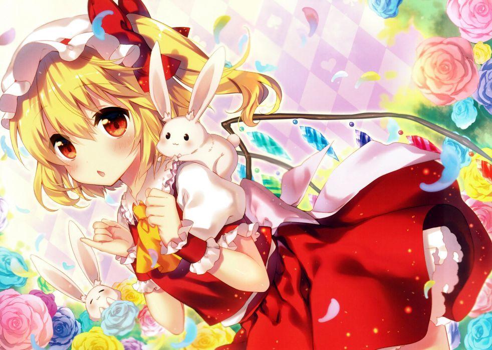 Touhou Flandre Scarlet Animal on Shoulder Rabbit wallpaper