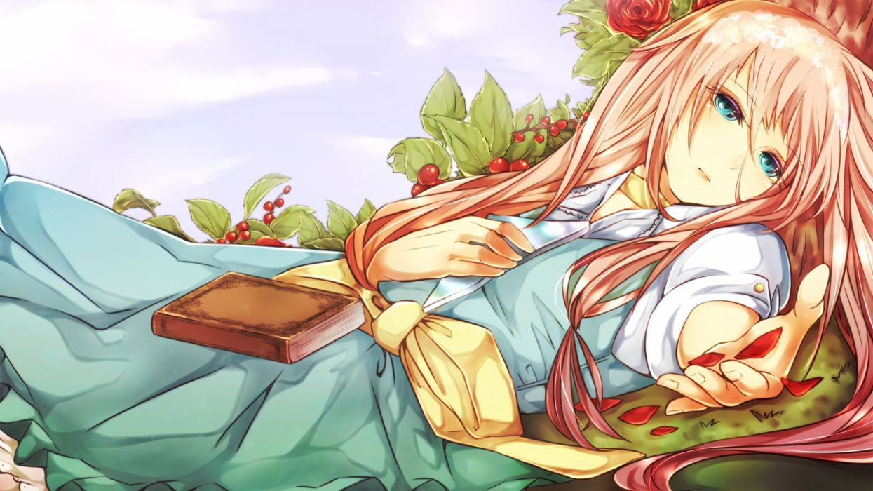 Vocaloid IA Berry Hand on Chest Laying on Back wallpaper