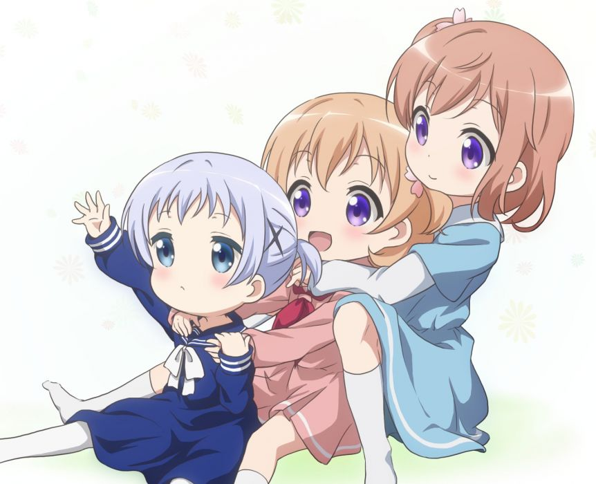 Gochuumon wa Usagi Desu ka Hoto Moka Kafuu Chino Hoto Kokoa Little Girl wallpaper