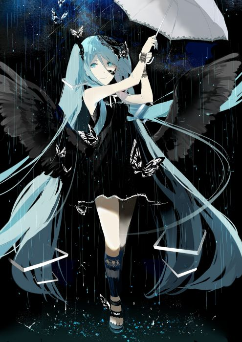 Vocaloid Hatsune Miku Open Umbrella Rain Holding Umbrella wallpaper