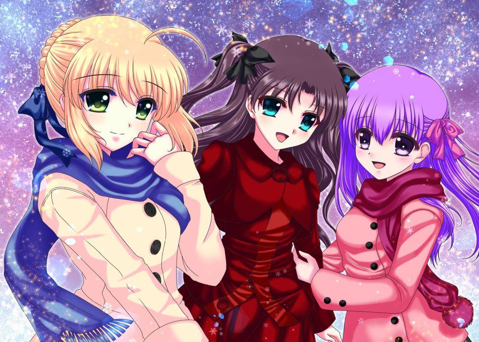 Fate stay night Tohsaka Rin Matou Sakura Saber wallpaper