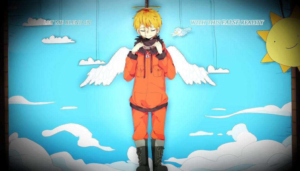 South Park Kenneth McCormick Black Border Orange Outerwear Sun wallpaper