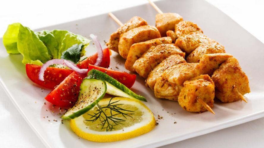 pinchitos carne verduras carne comidas wallpaper
