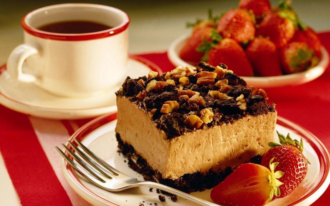 desayuno cafe tarta chocolate fresa wallpaper