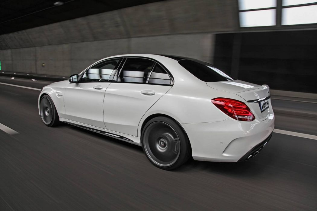 Mercedes AMG C63 cars white sedan Vath modified wallpaper