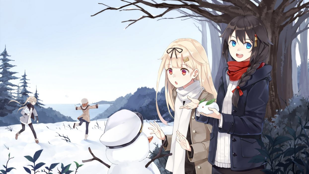 anime girl anthropomorphism blonde hair blue eyes boots braids brown hair group hairpins happy hat jacket long hair red eyes ribbon scarf short hair sky snow tree twin tails winter Kantai Collection wallpaper