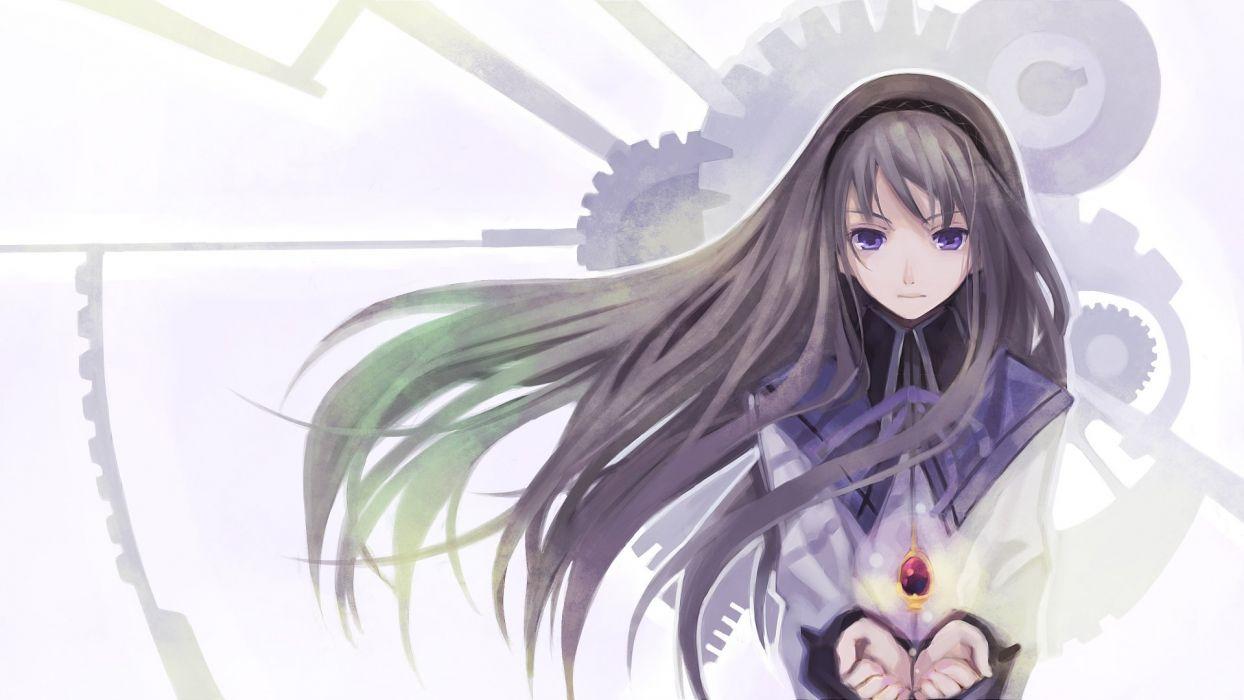 anime girl black hair green hair hair band jewelry long hair purple eyes ribbon seifuku smile Puella Magi Madoka Magica wallpaper