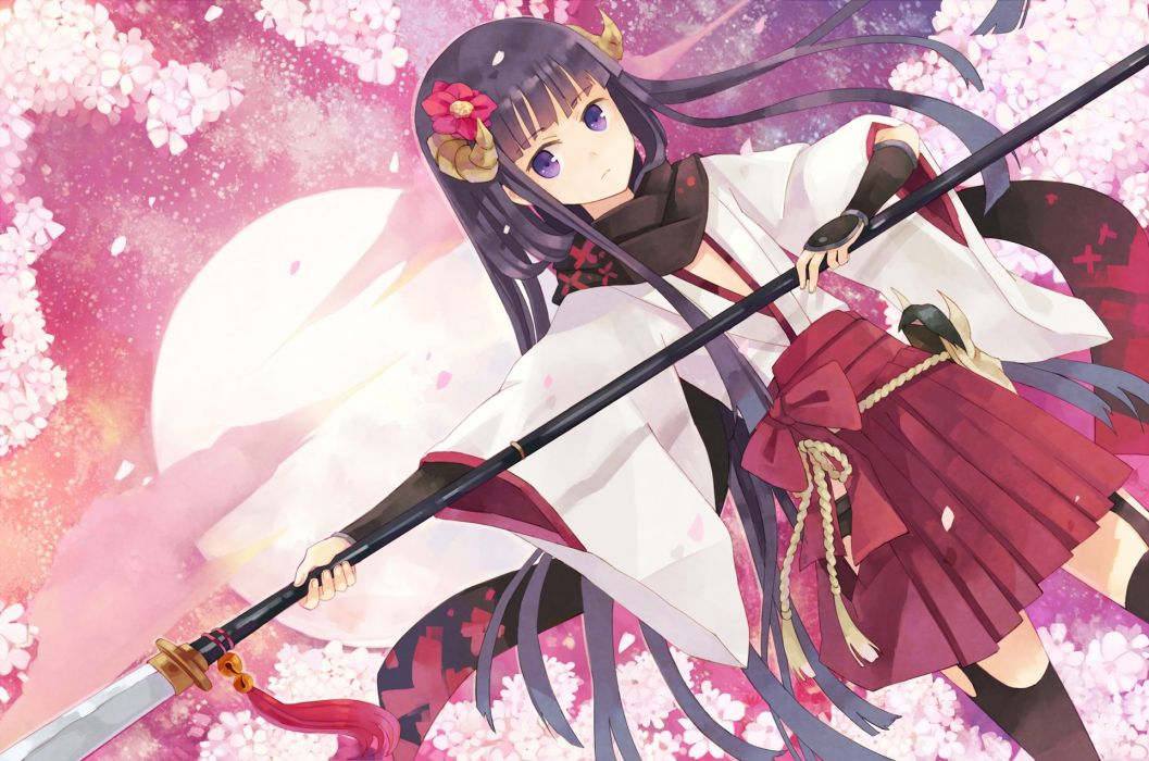 anime girl flower hakama horns long hair moon polearm purple eyes purple hair ribbon sakura thigh highs Inu x Boku SS wallpaper