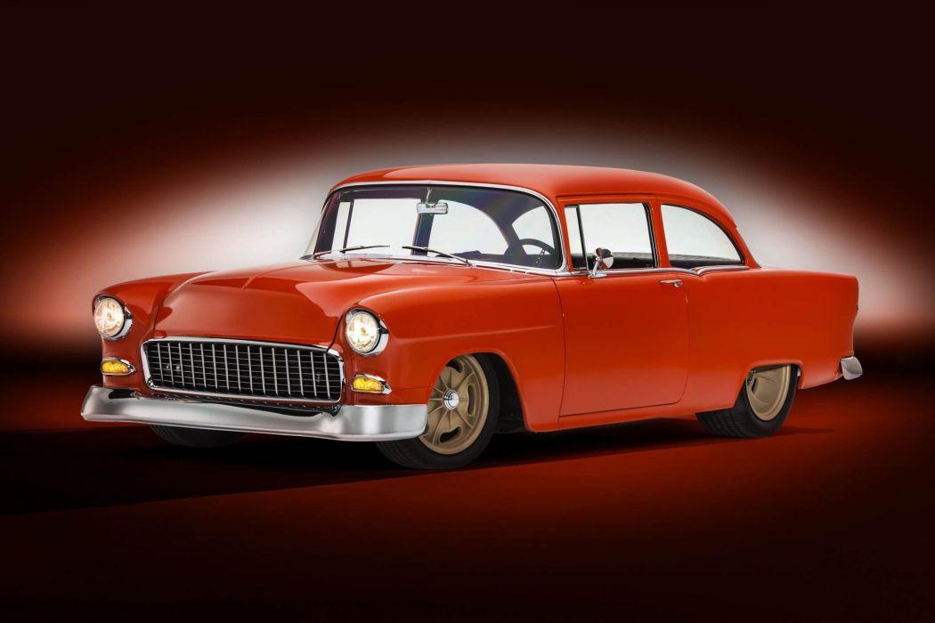 1955 Chevrolet 150 two-door sedan custom retro hot rod rods wallpaper