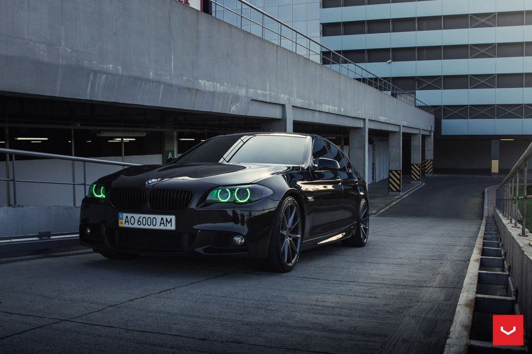BMW 5-Series vossen wheels sedan cars black wallpaper