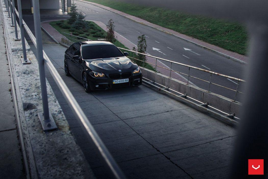 BMW 5-Series vossen wheels sedan cars black wallpaper