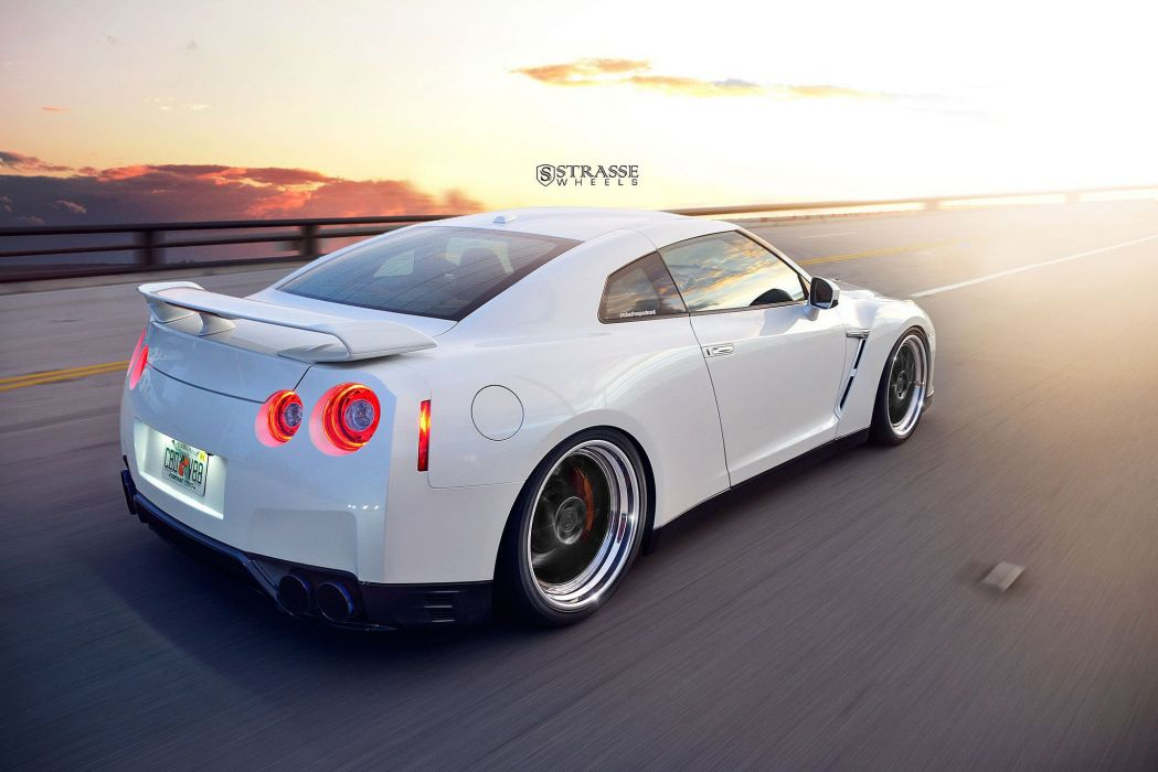 Nissan GT-R strasse wheels godzilla white cars wallpaper