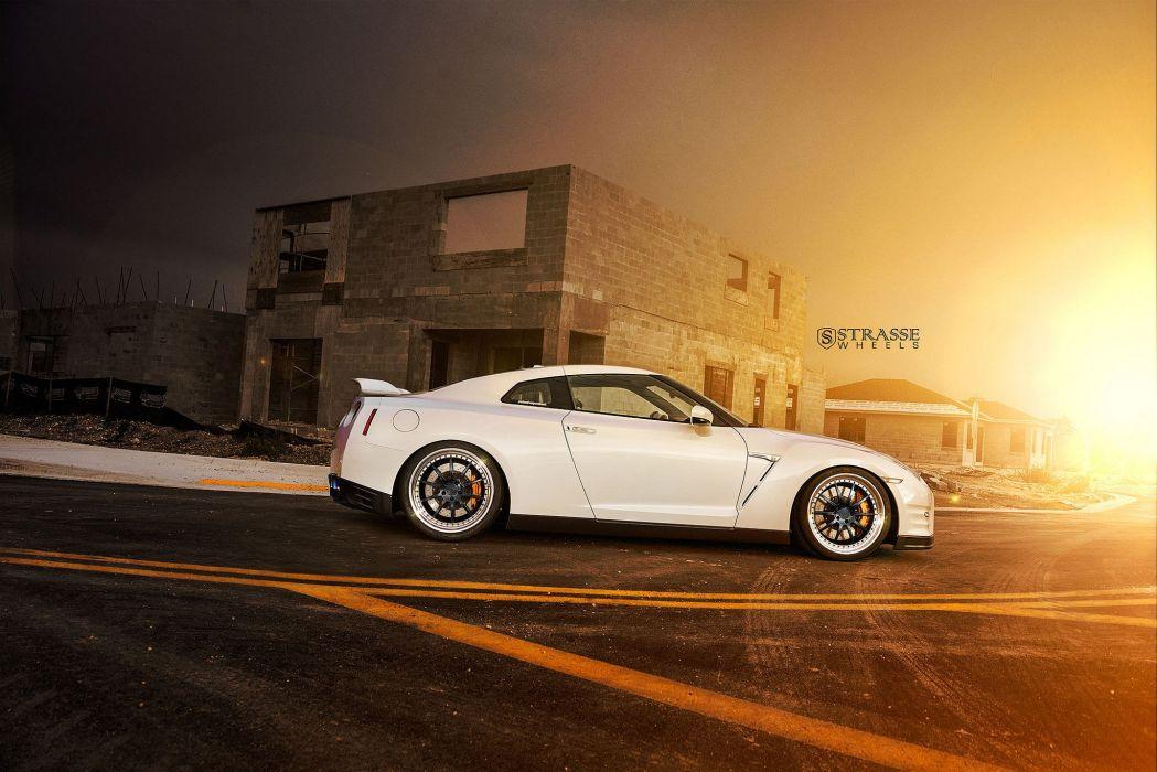 Nissan GT-R strasse wheels godzilla white cars wallpaper