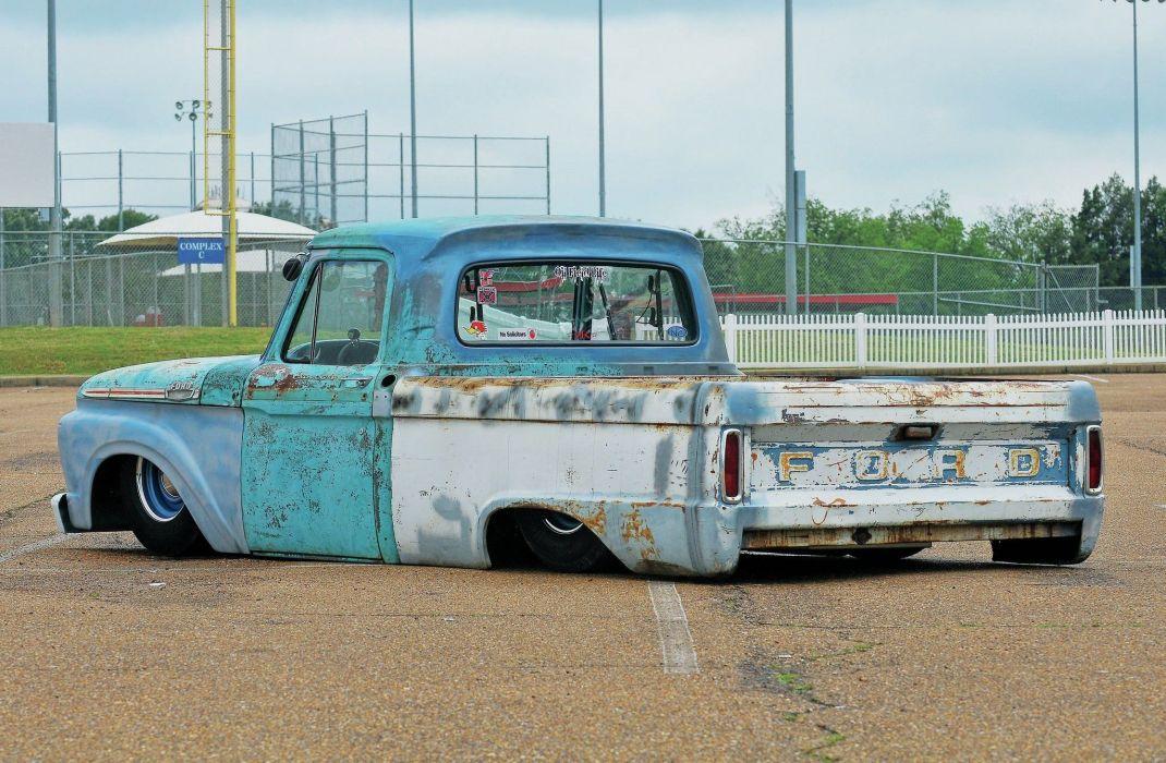 1964 Ford F-100 custom lowrider tuning classic f100 pickup wallpaper