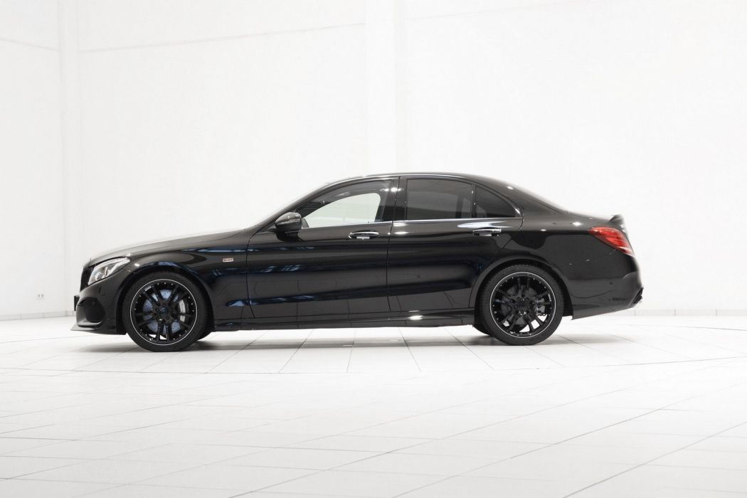 Mercedes C450 AMG 4Matic Brabus cars modified black sedan wallpaper