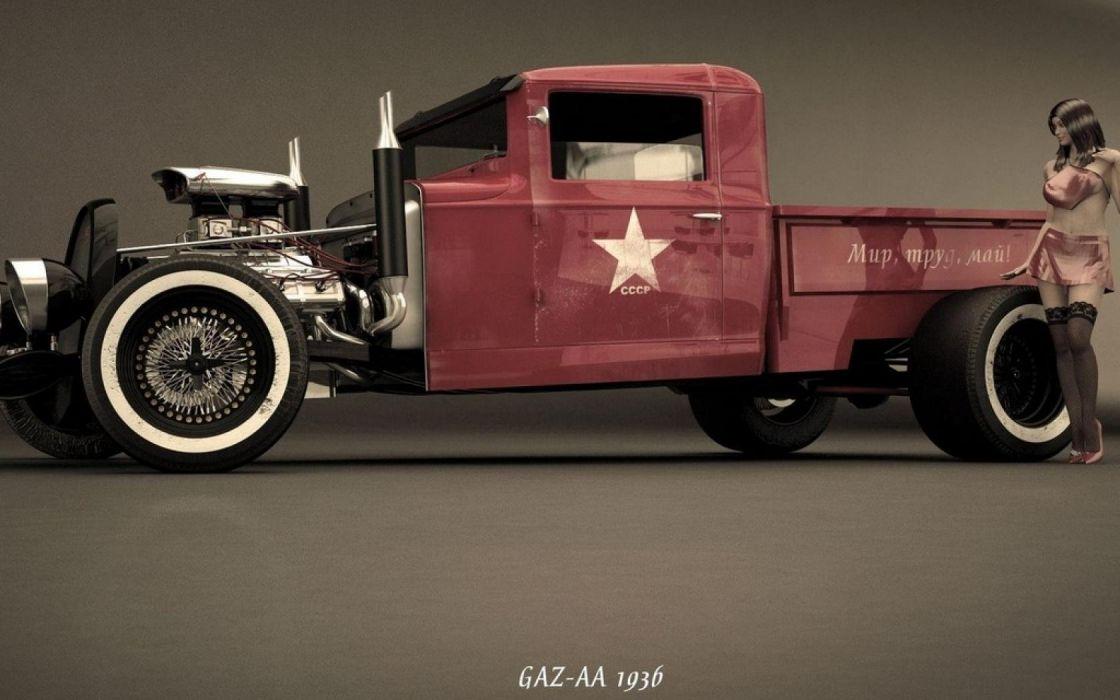 HOT ROD rods custom retro pickup truck wallpaper