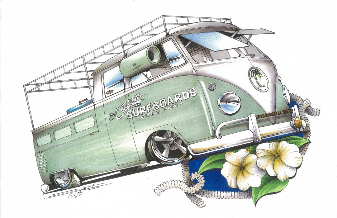 HOT ROD rods custom retro pickup truck socal volkswagon van pickup lowered wallpaper