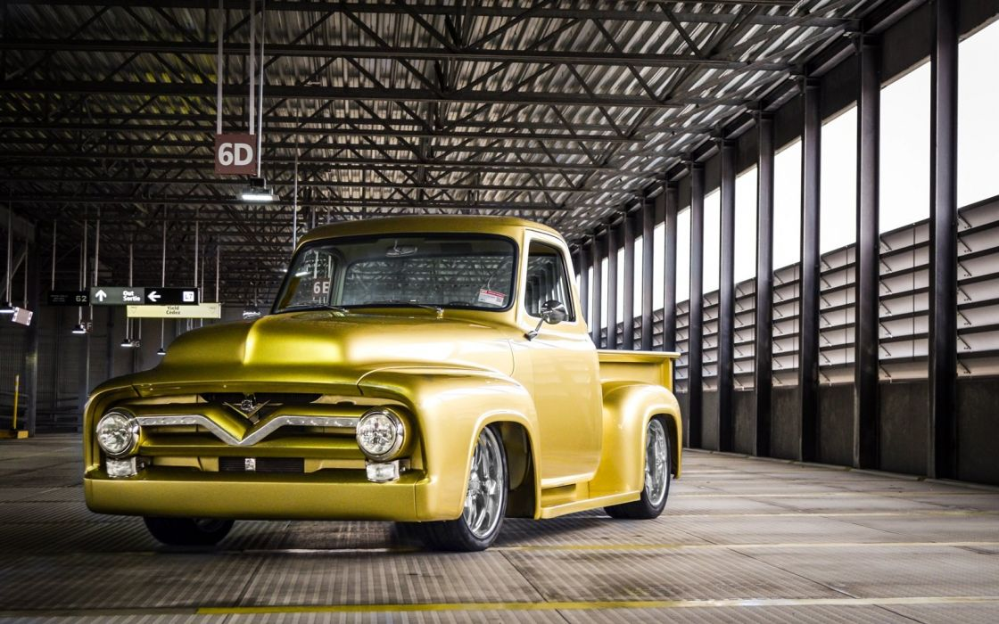 1955 Ford F100 hot rod rods custom lowrider retro pickup truck wallpaper