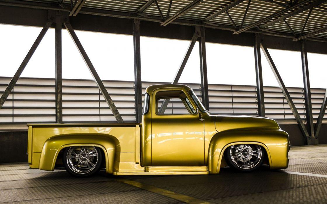 1955 Ford F100 hot rod rods custom lowrider retro pickup truck wallpaper