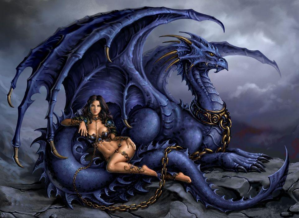 chica dragon cadenas fantasia wallpaper