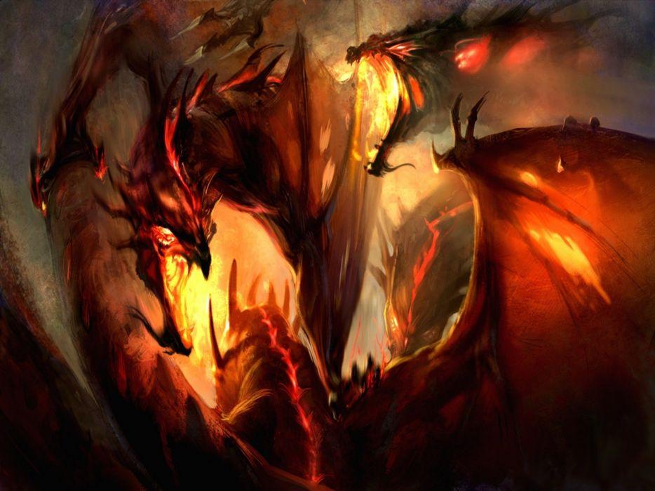 fantasy art artwork dragon monster creature warrior wallpaper