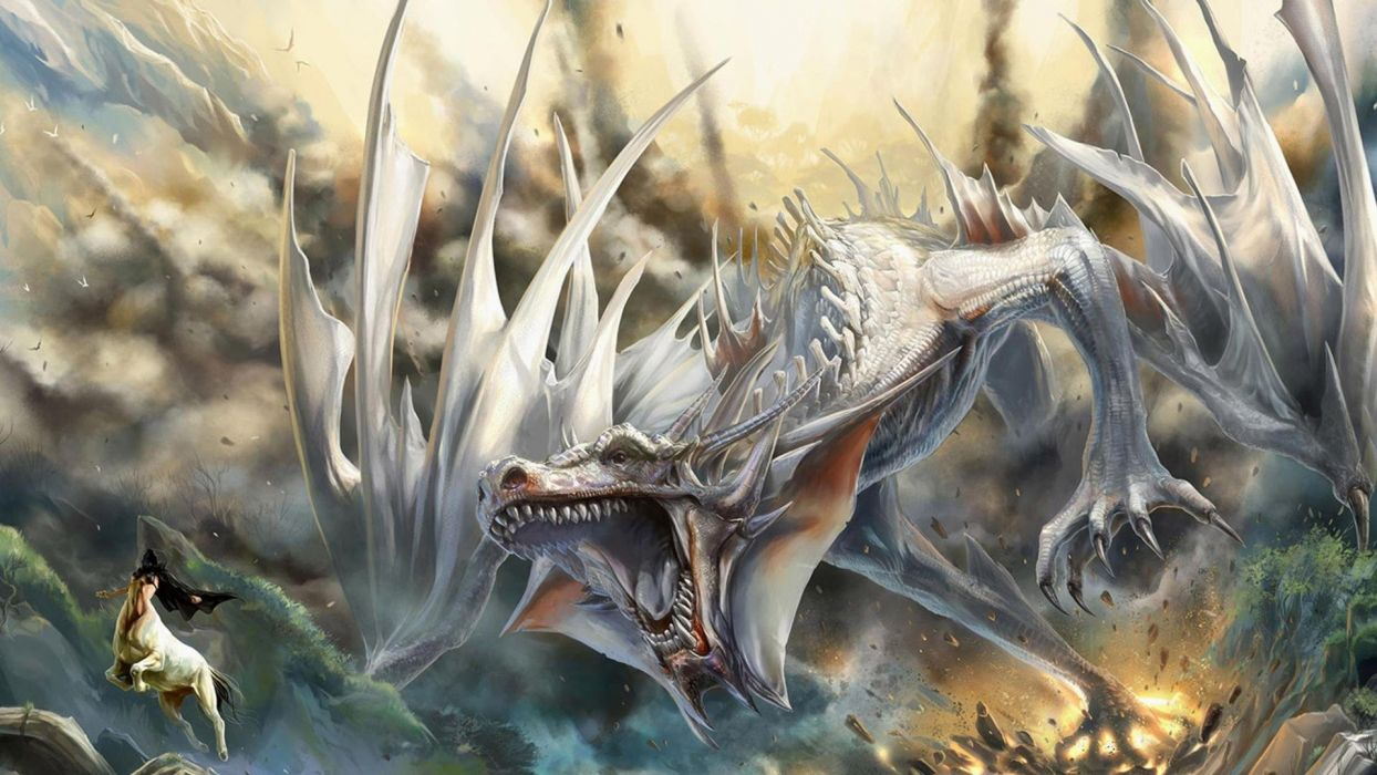 fantasy art artwork dragon monster creature warrior wallpaper
