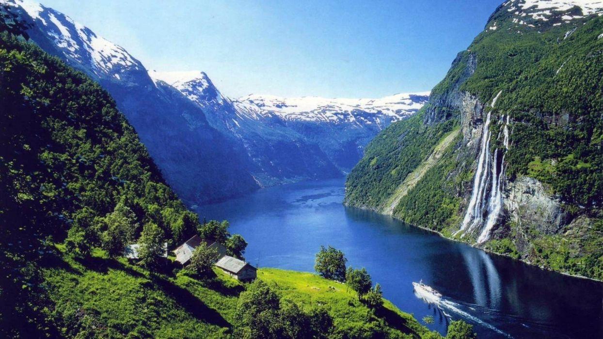 paisaje fiordos noruegos naturaleza cataratas wallpaper