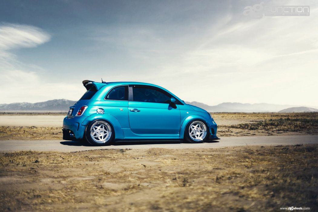 fiat 500 abarth cars modified blue wallpaper