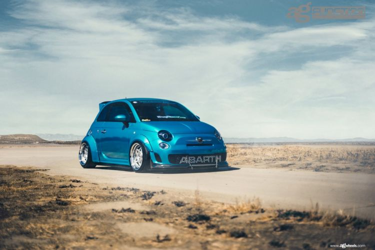 fiat 500 abarth cars modified blue wallpaper