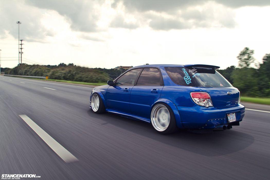 SUBARU WRX wagon blue body kit cars modified  wallpaper