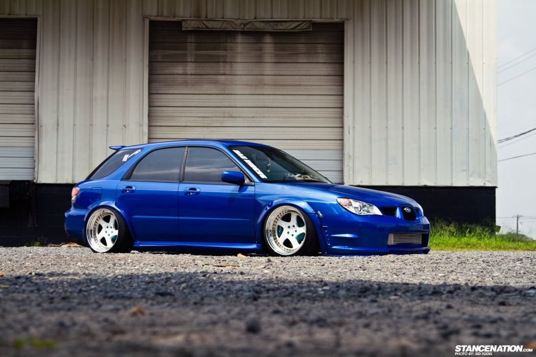 SUBARU WRX wagon blue body kit cars modified  wallpaper