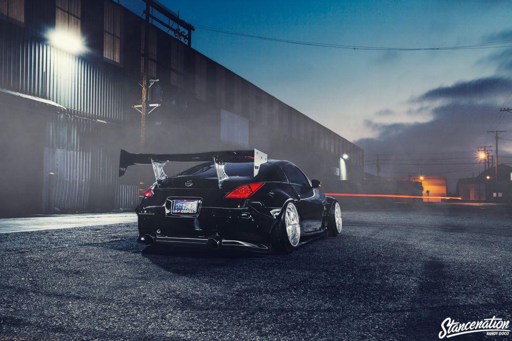 nissan 370z black body kit cars modified  wallpaper