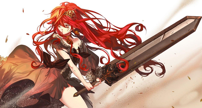 Anime girl red hair brown eyes