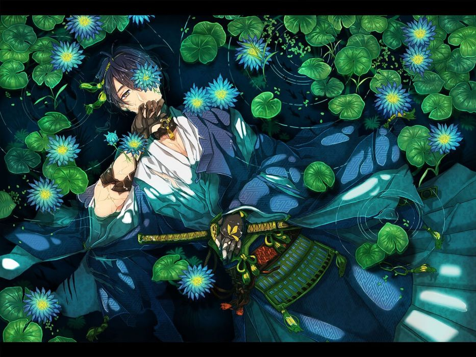 anime all male anthropomorphism black hair flowers gloves japanese clothes katana leaves male nokaku short hair sword torn clothes touken ranbu water weapon wallpaper