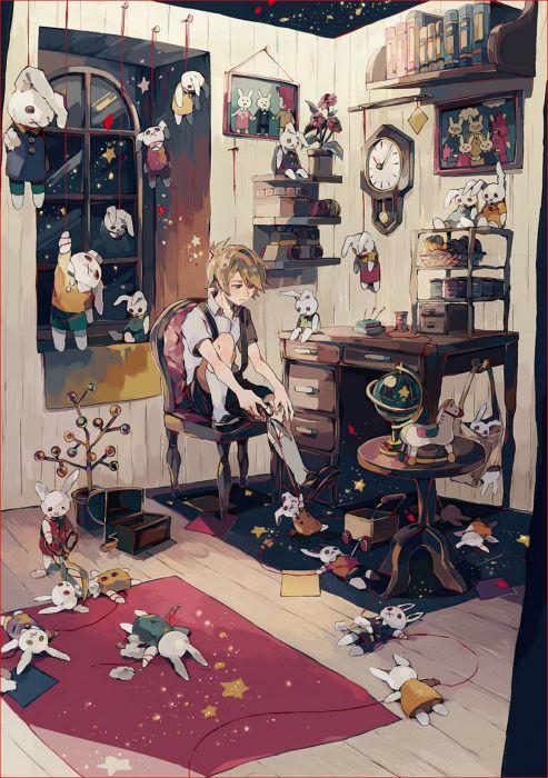 anime boy rabbit toys room wallpaper