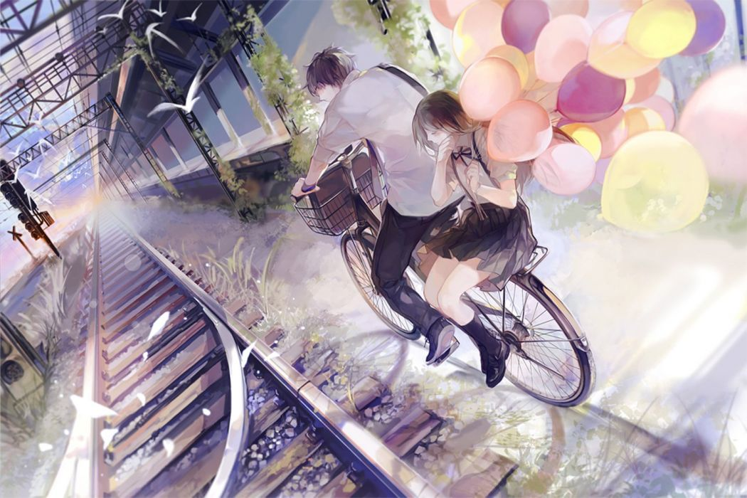 anime couple bike love girl boy balloon beauty wallpaper