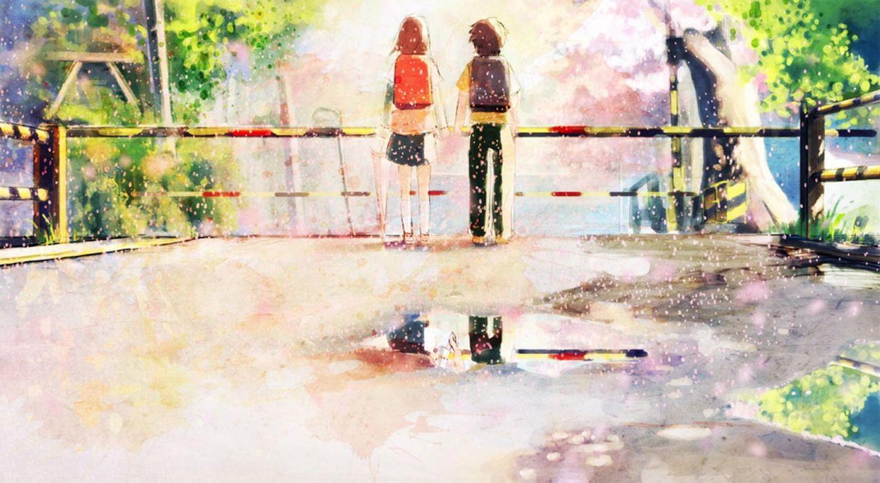 anime couple girl boy spring wallpaper