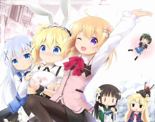 anime girl cute beautiful dress flower long hair group girls wallpaper