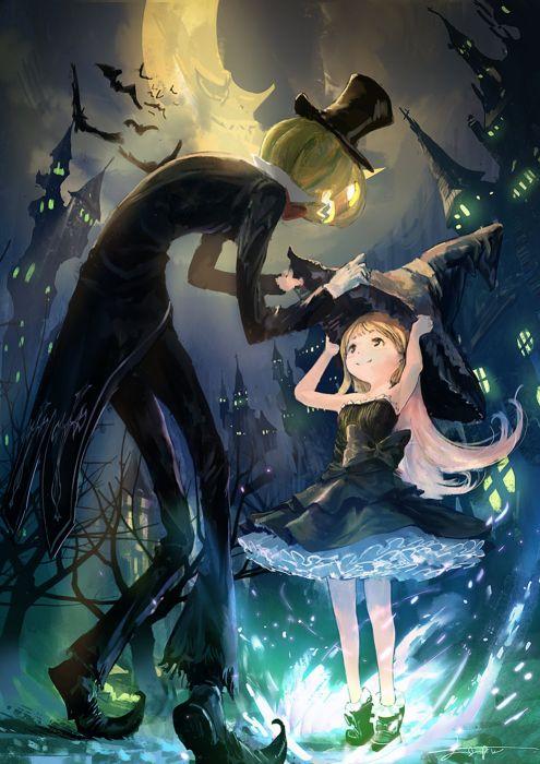 anime girl cute beautiful dress flower long hair hallowen witch moon wallpaper