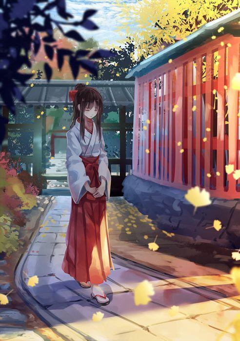 anime girl cute beautiful dress flower long hair kimono wallpaper