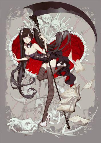 anime girl cute beautiful dress flower long hair skull book witch wallpaper