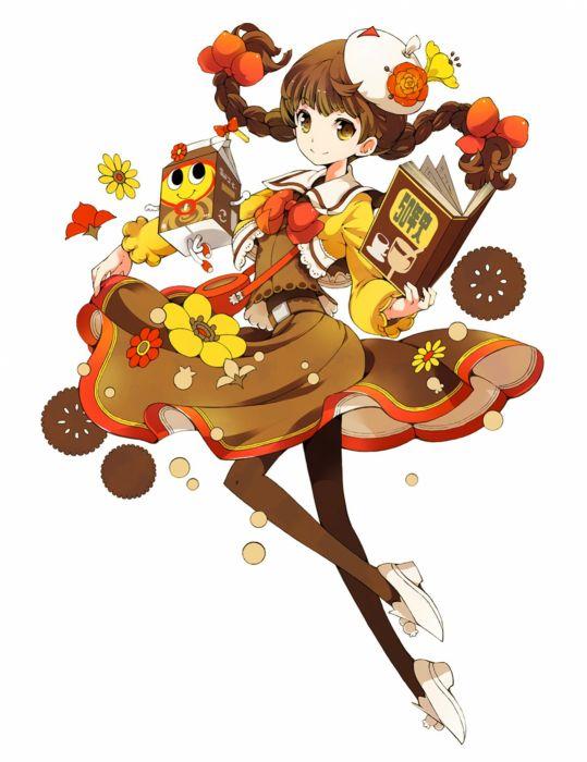anime girl cute beautiful dress flower long hair wallpaper