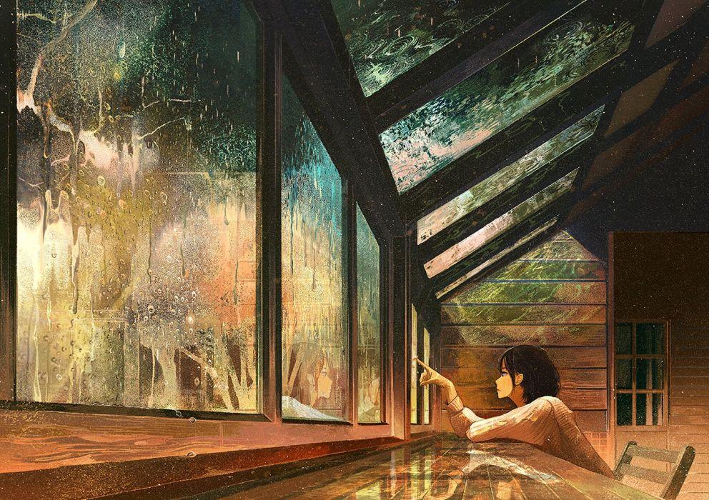 Anime Girl Cute Beautiful Flower Long Hair Window Rain Wallpaper