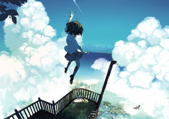 anime girl cute beautiful school uniform cloud sky flower long hair wallpaper