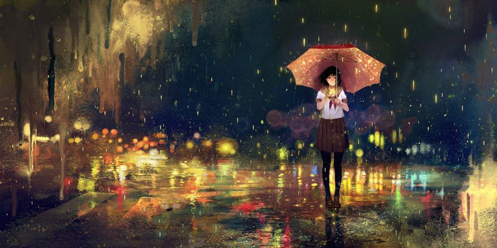 anime girl cute beautiful rain school uniform flower long hair wallpaper
