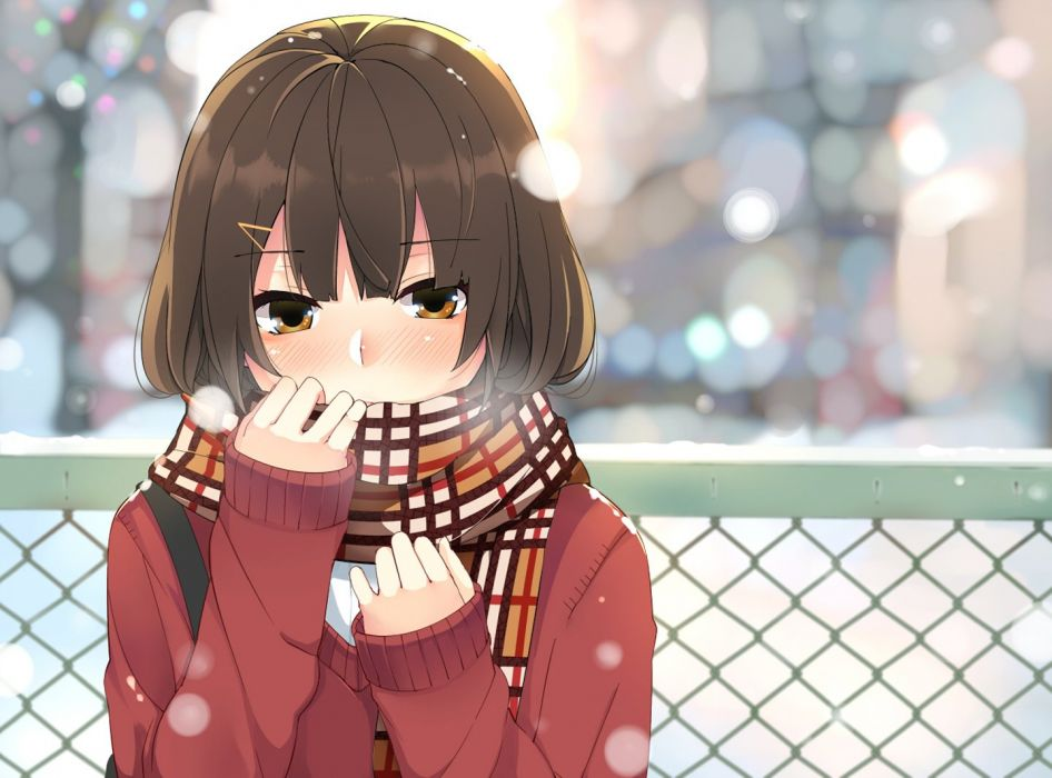 anime girl winter snow cute cold wallpaper