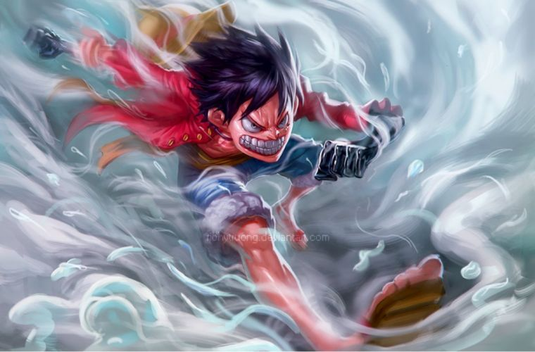 anime series onepiece lufy character fight wallpaper